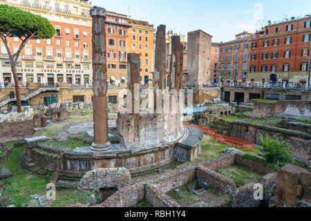 Rome, Italy - October 04, 2018: Area Sacra di Largo Argentina is square ruins in Rome - Stock Photo