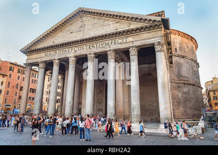 Rome, Italy - October 04, 2018: Pantheon is former Roman temple - Stock Photo