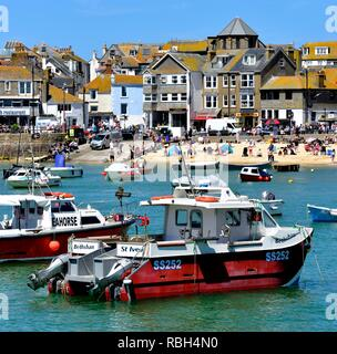 Fishing boats in St Ives Harbour,Cornwall,England,UK - Stock Photo