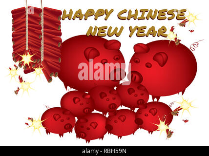 Year of the pig - 2019 - Stock Photo