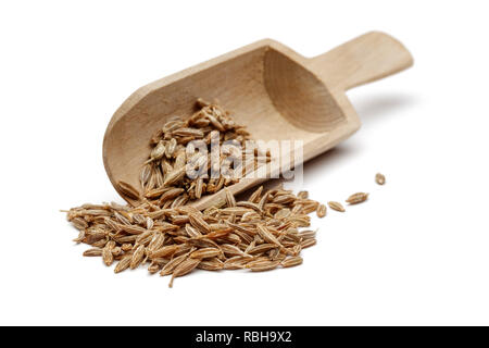 Cumin seeds in wooden spoon isolated on white background - Stock Photo