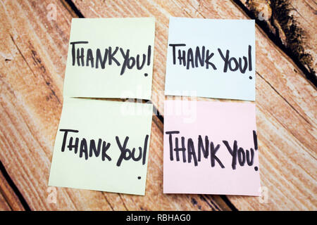 Handwritten Reminder of Gratitude. Positive Message About Values. Written Acknowledgement Response. Four Thank You Notes on Paper. Expressing Acceptan - Stock Photo