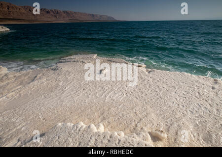 Crystallized salt rocks along the shores of the Dead Sea, Israel. Stock Photo
