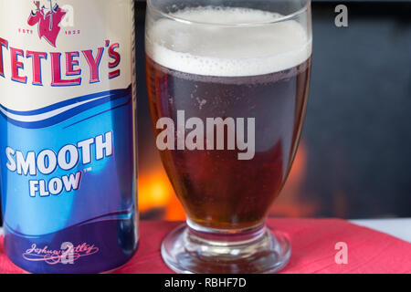 A glass of cold Tetleys Smooth flow bitter - Stock Photo