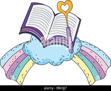 magic wand with heart and rainbow - Stock Photo
