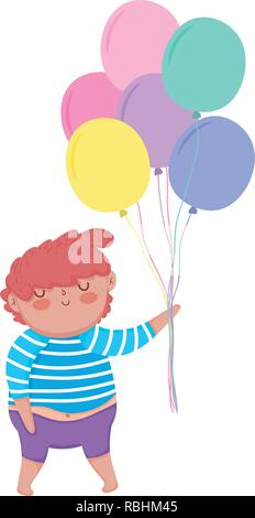 little chubby boy with balloons helium - Stock Photo