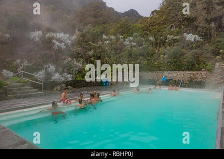 Los Termales  , Colombia  - February 19, 2017 :  people bathing in the hot springs of Hotel Spa Los Termales Caldas in Colombia South America - Stock Photo