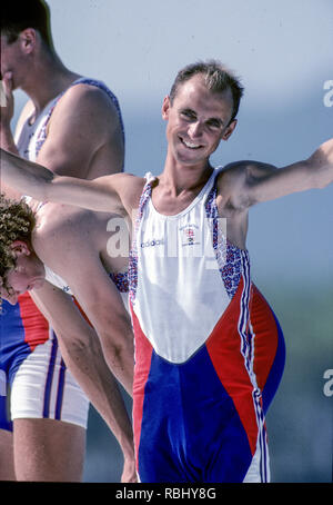 Barcelona, SPAIN. Gold Medalist, GBR M2+, cox, Gary HERBERT.  Celebrate on the awards dock. 1992 Olympic Rowing Regatta Lake Banyoles, Catalonia [Mandatory Credit Peter Spurrier/ Intersport Images] Last time Men's coxed pair raced at the Olympics, - Stock Photo