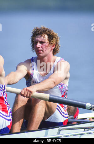 Barcelona, SPAIN. Gold Medalist, GBR M2+, Bow Jonny SEARLE. 1992 Olympic Rowing Regatta Lake Banyoles, Catalonia [Mandatory Credit Peter Spurrier/ Intersport Images] Last time Men's coxed pair raced at the Olympics, - Stock Photo