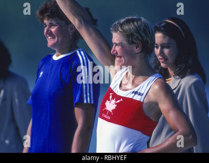 Barcelona Olympic Games 1992 Olympic Regatta - Lake Banyoles  CAN W1X, Silken LAUMANN  on awards dock.; Women's Single Medals,  {Mandatory Credit: © Peter Spurrier/Intersport Images] - Stock Photo