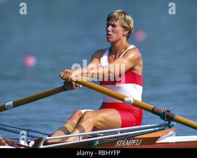 Barcelona Olympic Games 1992 Olympic Regatta - Lake Banyoles CAN W1X. Silken Laumann, Rowing,  with Bandaged Leg, after a collision with another boat at an earlier European Regatta, {Mandatory Credit: © Peter Spurrier/Intersport Images] - Stock Photo