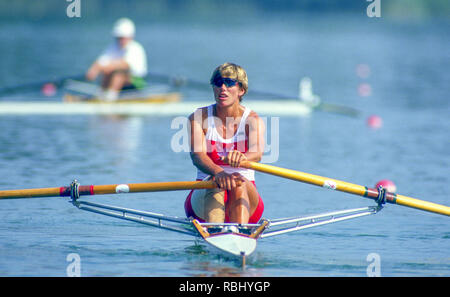 Barcelona Olympic Games 1992 Olympic Regatta - Lake Banyoles CAN W1X. Silken Laumann on Rowing,  with Bandaged Leg, after a collision with another boat at an earlier European Regatta, {Mandatory Credit: © Peter Spurrier/Intersport Images] - Stock Photo