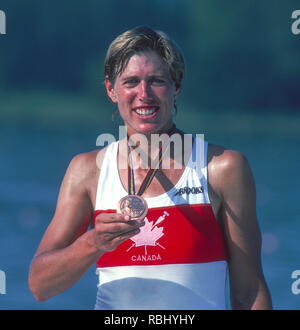 Barcelona Olympic Games 1992 Olympic Regatta - Lake Banyoles CAN W1X. Silken LAUMANN, with her Bronze Medal,  {Mandatory Credit: © Peter Spurrier/Intersport Images] - Stock Photo