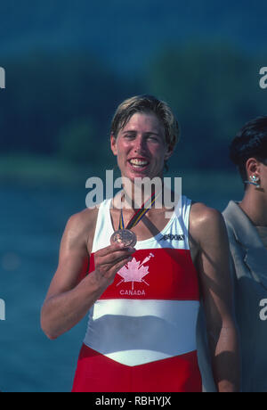 Barcelona Olympic Games 1992 Olympic Regatta - Lake Banyoles Bronze Medalist, CAN W1X. Silken LAUMANN, with her Bronze Medal,  {Mandatory Credit: © Peter Spurrier/Intersport Images] - Stock Photo