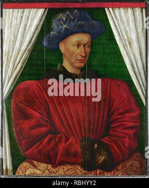 Retrato del rey Carlos VII de Francia (1403-1461). 85x70. Museum: MUSEE DU LOUVRE. Author: FOUQUET, JEAN. - Stock Photo