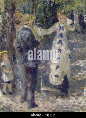 La Balançoire The Swing. Date/Period: 1876. Painting. Oil on canvas. Height: 920 mm (36.22 in); Width: 730 mm (28.74 in). Author: Renoir, Pierre-Auguste. AUGUSTE RENOIR. - Stock Photo