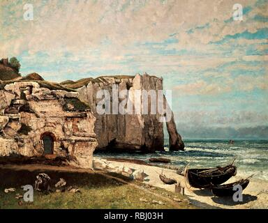 La falaise d'Etretat après l'orage The Etretat Cliffs after the Storm. Date/Period: 1870. Painting. Oil on canvas. Height: 1,330 mm (52.36 in); Width: 1,620 mm (63.77 in). Author: GUSTAVE COURBET. COURBET, GUSTAVE. - Stock Photo