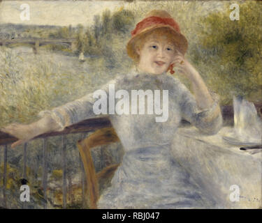 Alphonsine Fournaise. Date/Period: 1879. Painting. Oil on canvas. Height: 730 mm (28.74 in); Width: 930 mm (36.61 in). Author: Renoir, Pierre-Auguste. AUGUSTE RENOIR. - Stock Photo