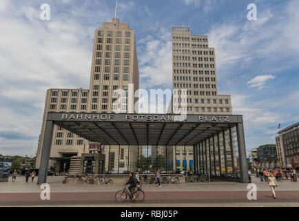Berlin, Germany - once split in two by the Berlin Wall, Potsdamer Platz is still one of the main landmarks of the german capital - Stock Photo