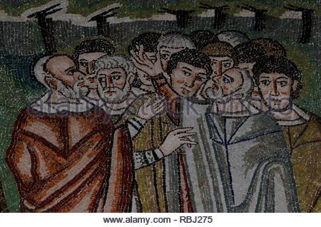 Ravenna, Emilia-Romagna, Italy: San Vitale Church 6th century mosaic of 12 Tribes of Israel elders, grouped around Aaron, at the foot of Mount Sinai. - Stock Photo
