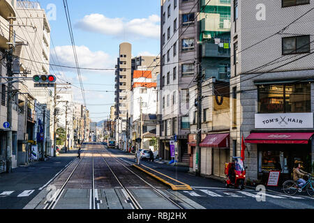 Hiroshima, Japan - Dec 28, 2015. Street of Hiroshima, Japan. Hiroshima was the first city targeted by a nuclear weapon, on August 6, 1945. - Stock Photo