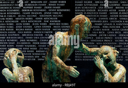 Sculptures and Memorial wall at the Holocaust Memorial in Miami Beach, Florida - Stock Photo