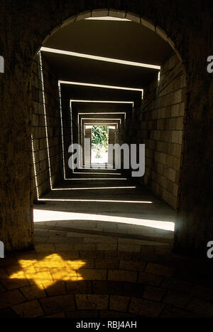 hallway leading to the memorial wall at the Holocaust Memorial in Miami Beach, Florida - Stock Photo
