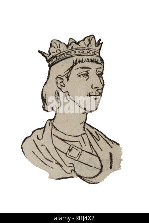 Badajoz, Spain - Jan 7th, 2019: Vintage depiction of Ferdinand III of Castile, The Saint. Draw from book Enciclopedia Autodidactica published by Dalma - Stock Photo