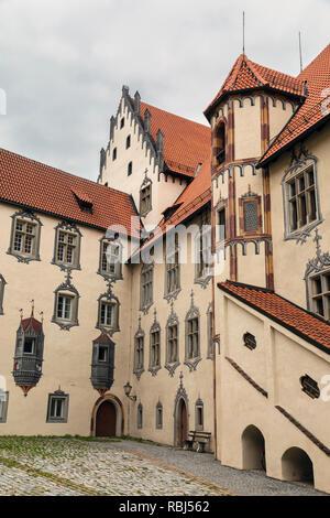 Trompe l'oeil paintings at Hohes Schloss (High Castle), Füssen, Ostallgäu, Bavaria, Germany - Stock Photo