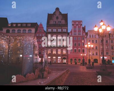Market Square or Rynek in Winter at Dusk , Wroclaw, Poland - Stock Photo