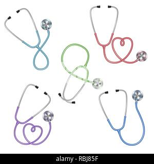 Set of different color stethoscopes icon, medical equipment - Stock Photo