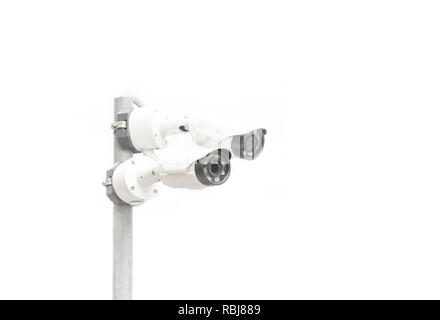 two surveillance camera isolated on white background, copy space - Stock Photo