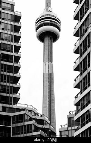 Modern architecture details and the CN Tower in Toronto Canada - Stock Photo
