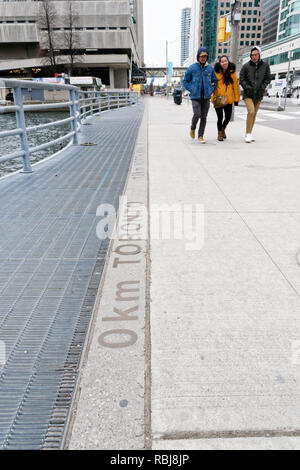 The 0km mark on Yonge Street in Toronto - Stock Photo