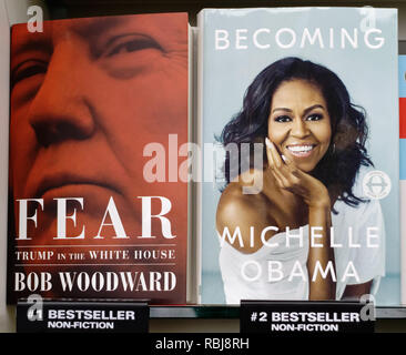 Fear: Trump in the White House and Becoming by Michelle Obama books side by side on a shelf in a shop - Stock Photo