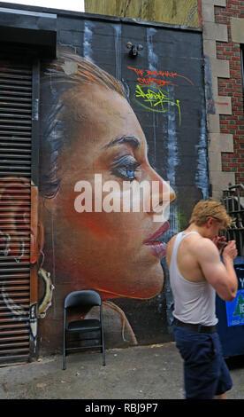 Face Art, East Village, New York City, NYC, NY, USA - Stock Photo