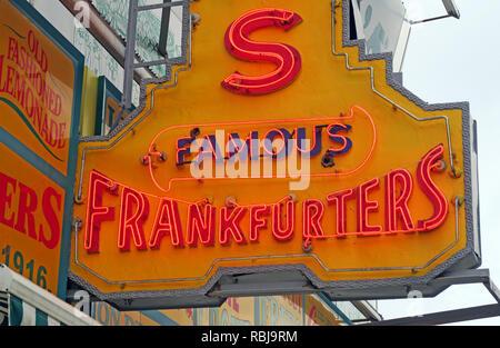Nathans Handwerker Famous Hotdog Frankfurters Original Restaurant, Deli, Fast Food, Coney Island, Borough of Brooklyn, New York, NY, USA - Stock Photo