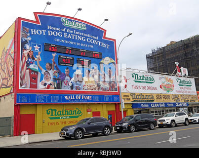 Nathans Handwerker Famous Hotdog Frankfurters Hotdog eating contest, Coney Island, Borough of Brooklyn, New York, NY, USA - Stock Photo