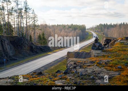 Autumn landscape highway A-121 Sortavala in Karelia. Russia. - Stock Photo