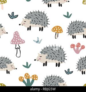 Childish seamless pattern with cute hedgehog and mushrooms. Creative texture for fabric - Stock Photo