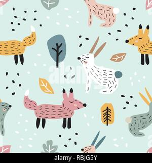 Childish seamless pattern with cute bunny and fox. Creative texture for fabric - Stock Photo