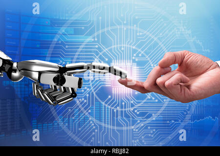 Close-up Of Robot And Man Touching Each Other's Finger Against Futuristic Background - Stock Photo