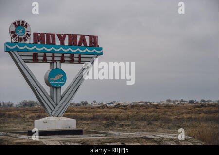 The remote town of Moynaq, Uzbekistanwas once a thriving fishing town on the shore of the Aral Sea but is now home to a rusting ship graveyard. - Stock Photo