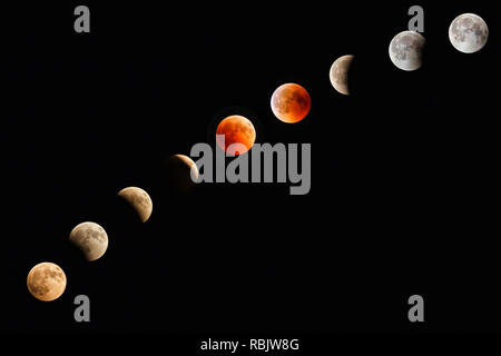 Blood Moon Lunar Eclipse Progression of July 2018 - Stock Photo