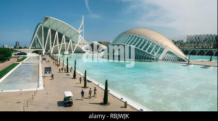 Valencia, Spain - June 2, 2016: Panoraic view of City of Arts and Sciences. Futuristic modern architectural complex. Hemisferic with its reflection in - Stock Photo