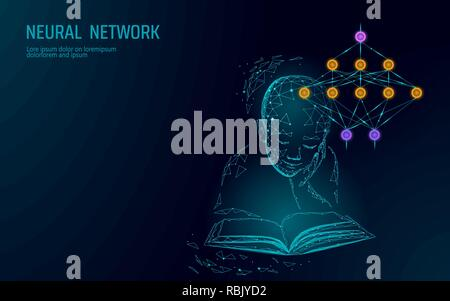 Child education online concept. Artificial neural network technology science medicine cloud computing. AI 3D abstract biology system. Polygonal blue glowing vector illustration - Stock Photo