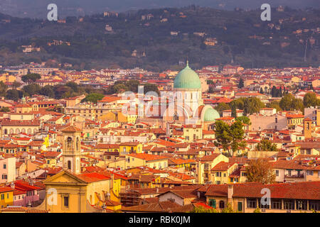Aerial view of historical medieval buildings with Great Synagogue dome in old town of Florence, Italy - Stock Photo