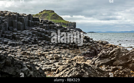 Giant's Causeway, the result of an ancient folcano eruption and listed as a  World Heritage Site, in Northern Ireland. - Stock Photo