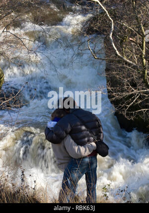 Rear view of couple watching leaping salmon. River Marteg SSSI, Gilfach farm nature reserve, Radnorshire Wildlife Trust, November. Model released - Stock Photo