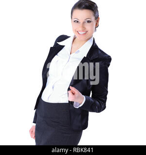 very happy business woman.isolated on white. photo with copy space - Stock Photo